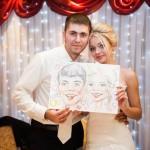 Цветной свадебный шарж