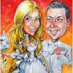 Фотография цветного свадебного шаржа